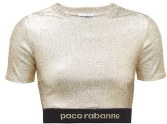 Paco Rabanne Logo Hem Metallic Jersey Cropped Top - Womens - Gold