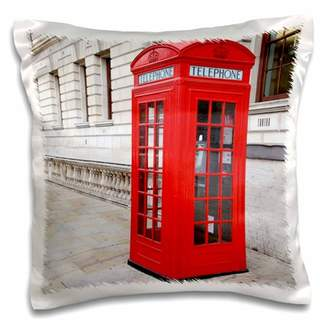 3dRose Londons Famous Red Phone Booths - Pillow Case, 16 by 16-inch