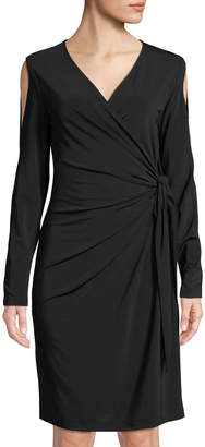 Lafayette 148 New York Cold-Shoulder Faux-Wrap Dress