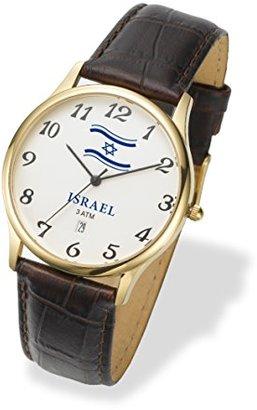 ADI Watchイスラエルユダヤ風withイスラエルフラグ,レザー,防水3 ATM,腕時計。