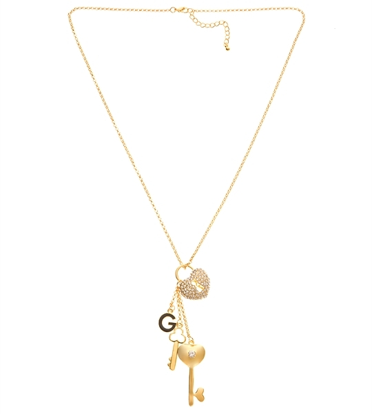 Gold-tone Lock and Key Charm Necklace