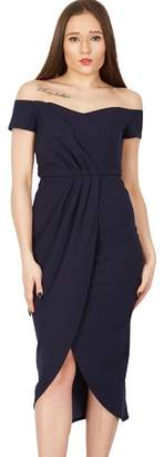 Blue Vanilla - Navy Pleated Wrap Off Shoulder Dress
