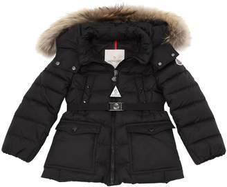 Moncler Genet Nylon W/ Fur Down Coat