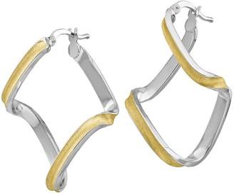Italian Silver Two-Tone Twisted Hoop Earrings