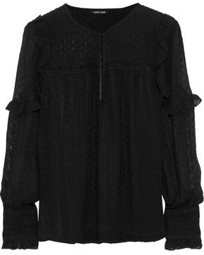 Love Sam Joy Lace-Trimmed Fil Coupé Georgette Blouse