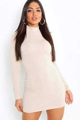 boohoo Crepe Roll Neck Long Sleeve Bodycon Dress
