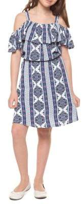 Dex Girl's Geometric-Print Cold-Shoulder Dress