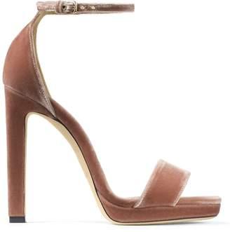 Jimmy Choo MISTY 120 Ballet Pink Velvet Platform Sandals