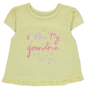 George Yellow Short Sleeve Frill Hem Grandma Slogan Top
