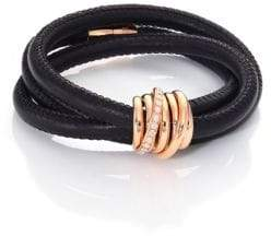 de GRISOGONO Allegra Diamond, 18K Rose Gold& Leather Wrap Bracelet/Black