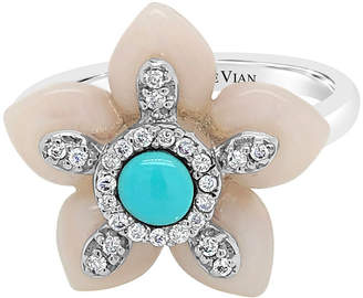 Mother of Pearl LEVIAN CORP Le Vian Grand Sample Sale Ring featuring Robins Egg Blue Turquoise Vanilla Diamonds set in 14K Vanilla Gold