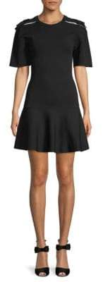 Valentino Short-Sleeve Fit-&-Flare Dress