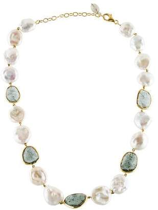 Yvel 18K Pearl, Aquamarine & Sapphire Necklace
