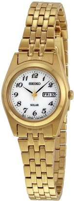 Seiko Solar White Dial Gold-tone Ladies Watch