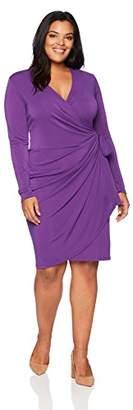 Lark & Ro Women's Plus-Size Long-Sleeve Wrap Dress