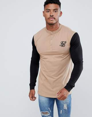 SikSilk long sleeve t-shirt in beige with contrast sleeves and grandad collar