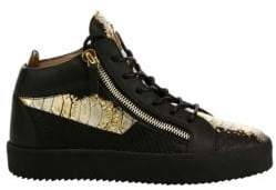 Giuseppe Zanotti Crocodile Embossed Leather Sneakers