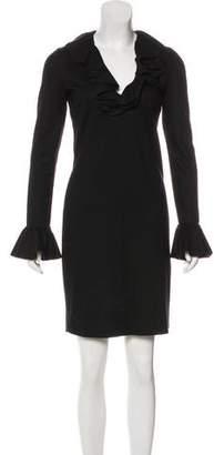 Gucci Wool Ruffle-Trimmed Dress