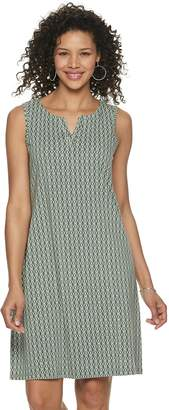 Croft & Barrow Women's Sleeveless Split-Neck Slub Dress