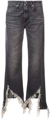 R 13 distressed bootcut jeans