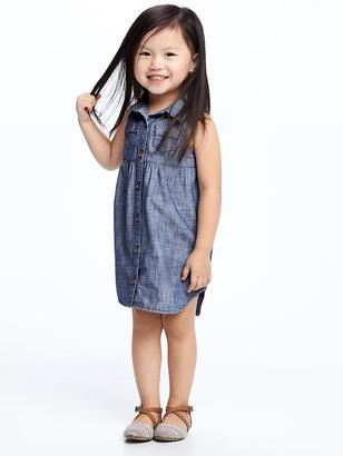Chambray Shirt Dress for Toddler Girls $22.94 thestylecure.com