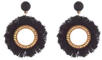Panacea Black Fringe Circle Earrings