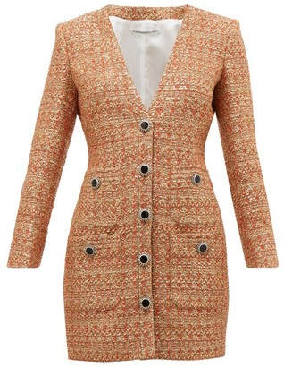 Alessandra Rich V Neck Sequin Tweed Mini Dress - Womens - Orange Multi