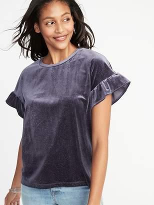 Old Navy Glitter-Velvet Ruffle-Sleeve Top for Women