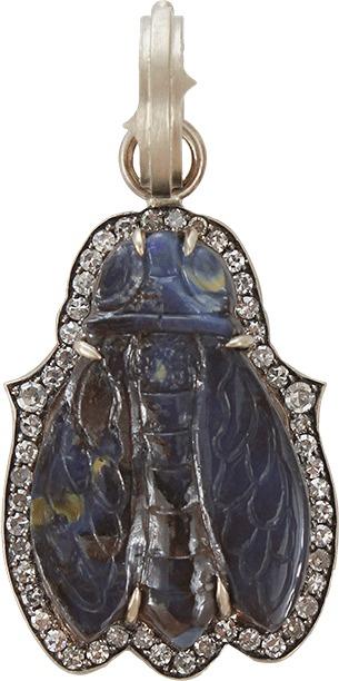 SYLVA & CIE Carved Opal Cicada Pendant