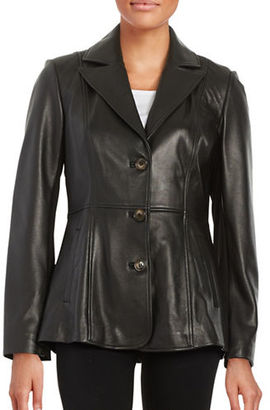 Jones New York Leather Button-Front Jacket $420 thestylecure.com