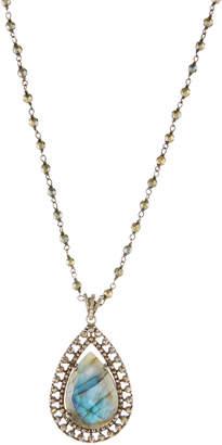 Bavna Long Labradorite Teardrop Pendant Necklace