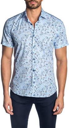 Jared Lang Men's Pirate-Print Short-Sleeve Sport Shirt