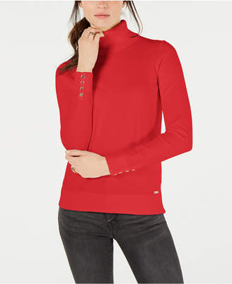Tommy Hilfiger Cotton Button-Trim Turtleneck Sweater