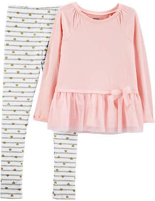 Carter's Long Sleeve Top & Pant Preschool Girls 2-pc. Pant Set