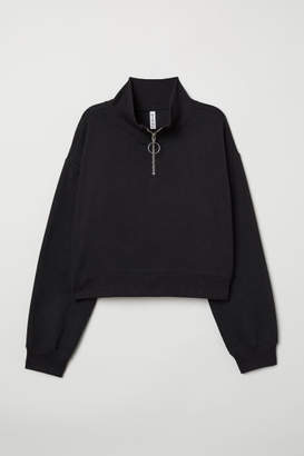 H&M Stand-up Collar Sweatshirt - Black