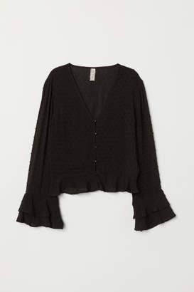 H&M V-neck Viscose Blouse - Black