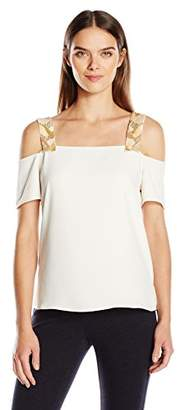 Cooper & Ella Women's Beaded Sandra Sold Shoulder Top