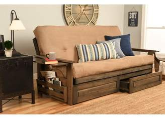 Chesapeake Futon with Storage in Rustic Walnut Finish, Multiple Colors