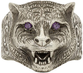 Gucci Silver Angry Cat Ring