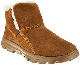 As Is Skechers GOwalk Suede Faux Fur Boots w/ Memory Form Fit $36 thestylecure.com
