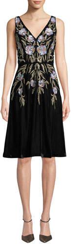 Aidan Mattox V-Neck 3D Floral Embroidered Velvet Dress w/ Pockets