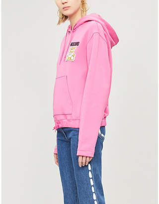 Moschino Embroidered drawstring cotton hoody