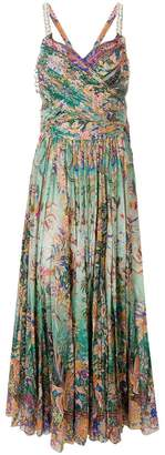 Etro floral pleated criss-cross back dress