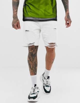 Bershka slim fit denim shorts with raw hem and rips in white
