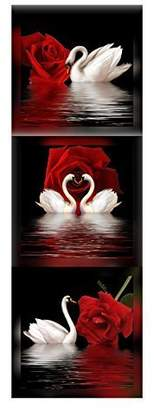 Amoy Art 3 Panels Beautiful Romantic Swans Art Print on Canvas Red Rose Flowers Wall Art Decor Stretched Frames for Bedroom Bathroom Ready to Hang