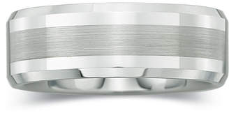 MODERN BRIDE Mens 8mm Comfort Fit Satin Center Ring in Tungsten