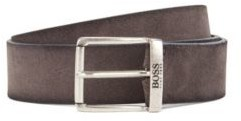 BOSS Suede belt with a washed effect and antique hardware