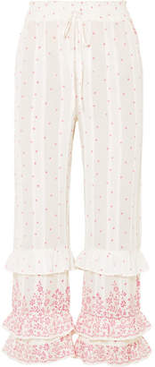 LoveShackFancy Kenley Ruffled Printed Cotton-voile Pants