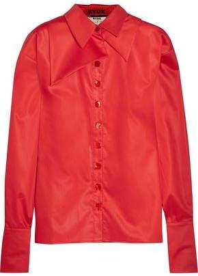 Ronald Van Der Kemp Silk-Trimmed Layered Cotton-Sateen Shirt