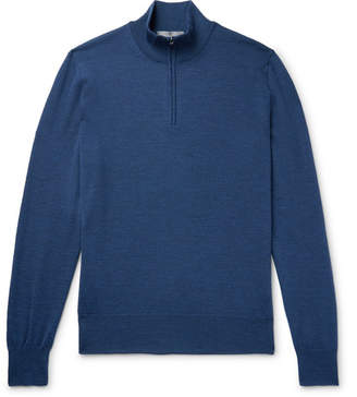 Canali Slim-Fit Mélange Merino Wool Half-Zip Sweater